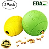 AD Treat Ball - Interactive Dog Toys - Non-toxic & Durable Rubber Treat Food Dispenser IQ Ball for Pet Puppies and Cat Chasing Chewing Playing - Green Round & Yellow Football