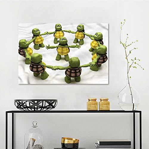 one1love Reptile Modern Decorative Painting Ninja Turtles Dancing Kids for Living Room,Dinning Room, Bedroom W47 xL31]()