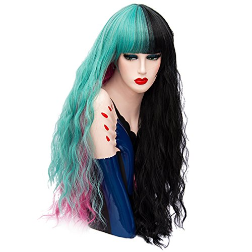 Menoqi Women's Wig Long Curly Wavy Wigs Colorful Wig Full Synthetic Hair for Cosplay Halloween with Wig Cap ( Black Light Blue and Pink ) (Black And Pink Wig)