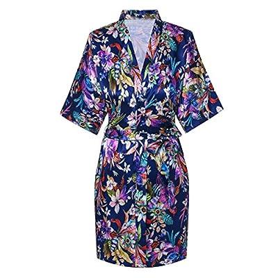Old-to-new Women's Short Silk Kimono Robe Floral Bathrobe Party Robe