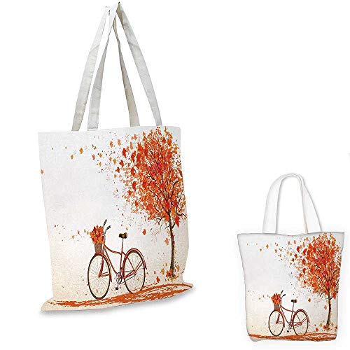 Bicycle non woven shopping bag Autumn Tree with Aged Old Bike and Fall Tree November Day Fall Season Park Nature Theme fruit shopping bag Orange. 16