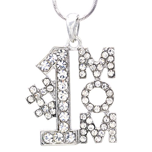 #1 Mom Number One Mother I Love You Mom Pendant Necklace Charm Mother's Day (Number 1 Mom Pendant)