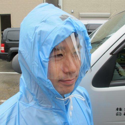 雨バイザーブルーカッパ補助具自転車雨具コーティング液なし帽子ヘルメットに装着可