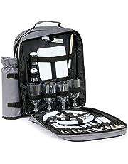 CampFeuer Picknick rugzak voor 4 personen met flessenhouder, groot koelvak, servies en bestek, picknickset 31-delig, grijs