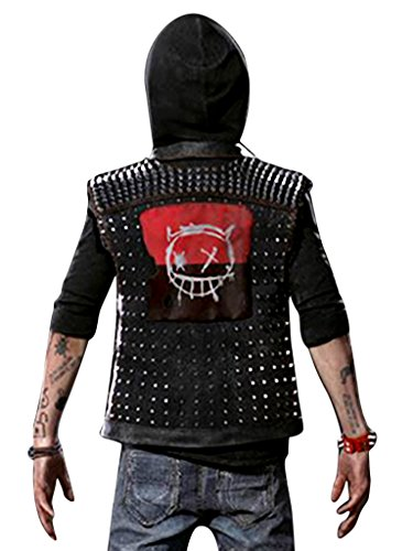 Outfitter Jackets Watch Dogs 2 Dedsec Wrench Vest - Shawn Baichoo Black Faux Leather Vest (M, Black) -