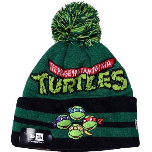 Teenage Mutant Ninja Turtles Hat (Teenage Mutant Ninja Turtles New Era Hero Wide Point Knit Hat with Pom)