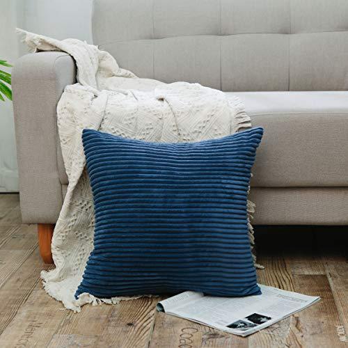 NATUS WEAVER Solid Decorative Accent Pillow Case Striped Corduroy Plush Velvet Cushion Cover Sofa, Navy Blue, 16 x 16 inch (40 cm)