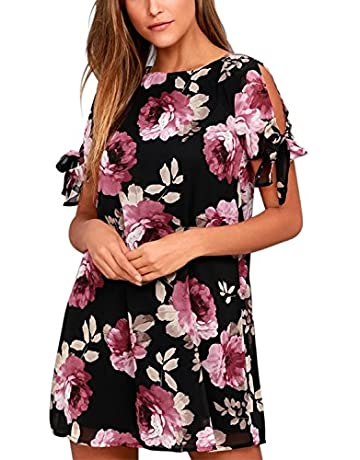 076eb71697 BMJL Women's Dresses Cold Shoulder Tie Chiffon Floral Print Shift Short  Sleeve Flare Casual Loose Round