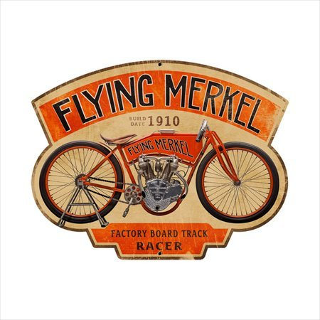 Past Time Signs FRC049 Flying Merkel Motorcycle Custom Metal Shape from Past time signs