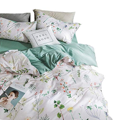 P&Q Girls Duvet Cover Queen Flower Branches Design Bedding Collection Yellow Green Reversible 3 Piece Cover Set with Zipper