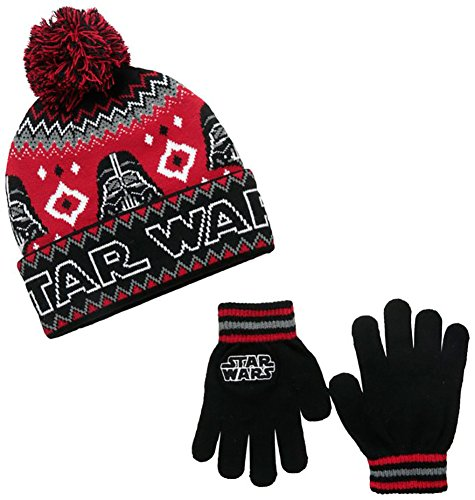 Star Wars Darth Vader Child Gloves (Star Wars Little Boys' Darth Vader Intarsia Knit Cuff Pom Beanie and Glove Set, Black/Red, One Size)