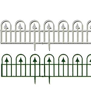 8 X Round Tip U0026 Arrow White Landscape Border Garden Fence Edging Lawn  Grass Edge Path Picket Panel Fencing