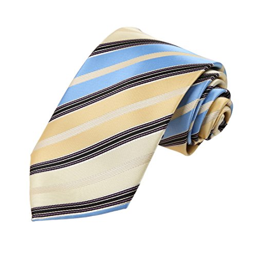 Dan Smith DAA7A27B Blue Lemon Stripes Microfiber Tie British Gift Giving Neck Tie