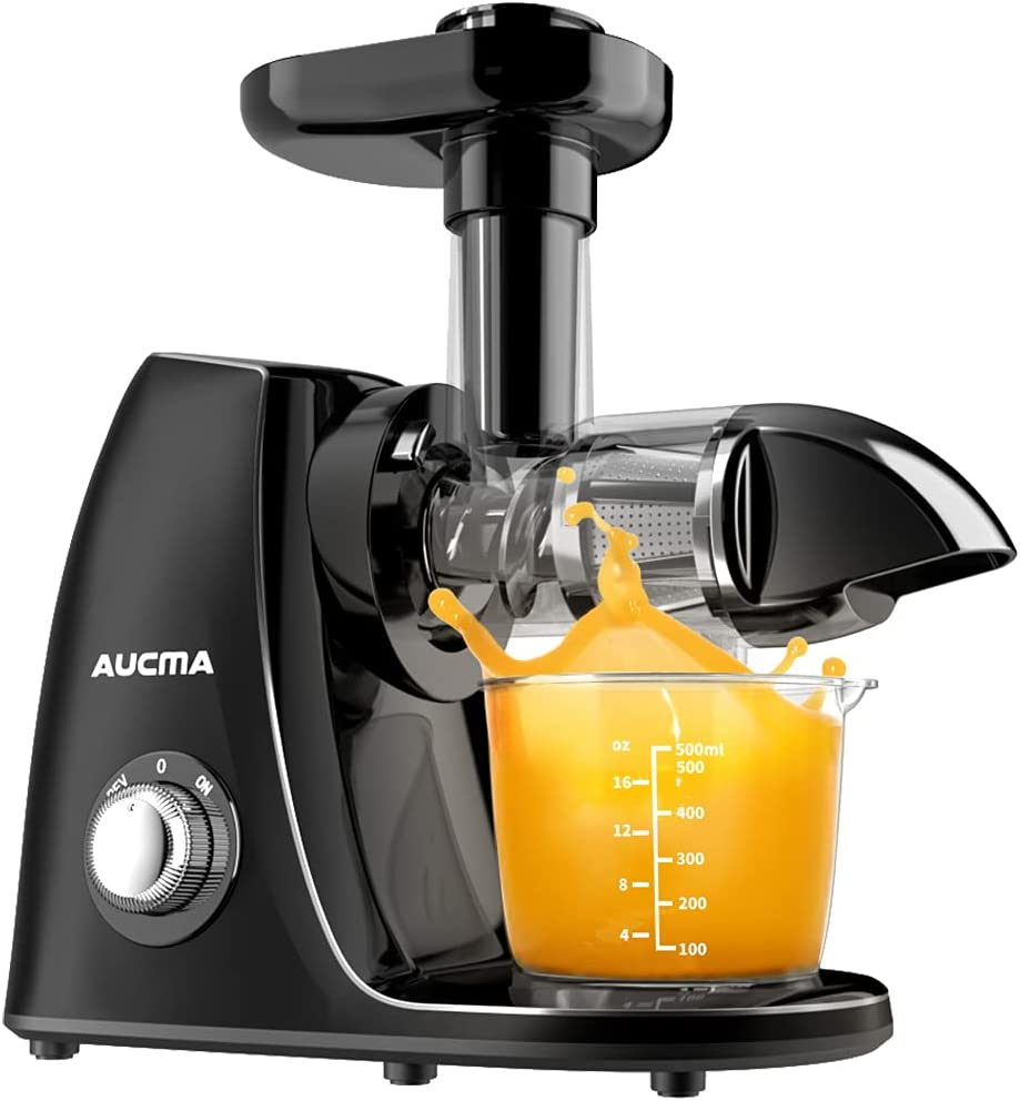 Aucma Masticating Juicer,Cold Press Juicer Extractor,Slow Juicer with Quiet Motor and Reverse Function,Juicer Machines Easy to Clean, Slow Masticating Juicer with Brush and Recipes, BPA-Free Black