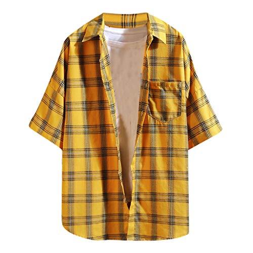 iHPH7 Shirt Casual Blouse Slim-Fit Short-Sleeve Plaid Shirt Summer Loose Casual Daily Men (XL,1- Yellow) -