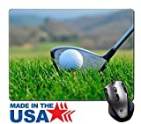 "MSD Natural Rubber Mouse Pad/Mat with Stitched Edges 9.8"" x 7.9"" Golf putter and ball IMAGE 23714878"