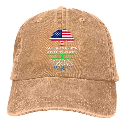 HOMEDAILY American Grown with Sierra Leonean Roots Mens Cotton Adjustable Washed Twill Baseball Cap Hat
