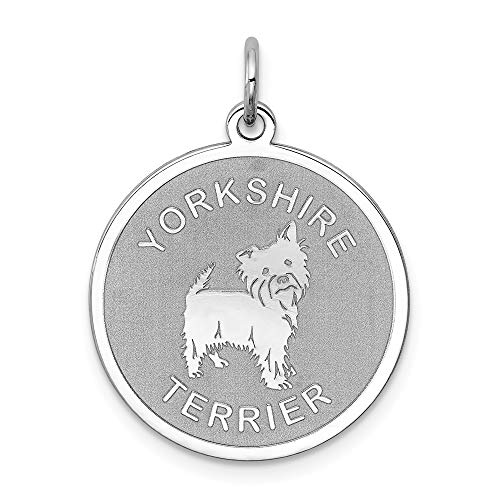 925 Sterling Silver Yorkshire Terrier Disc Pendant Charm Necklace Animal Dog Engravable Round Fine Jewelry Gifts For Women For Her