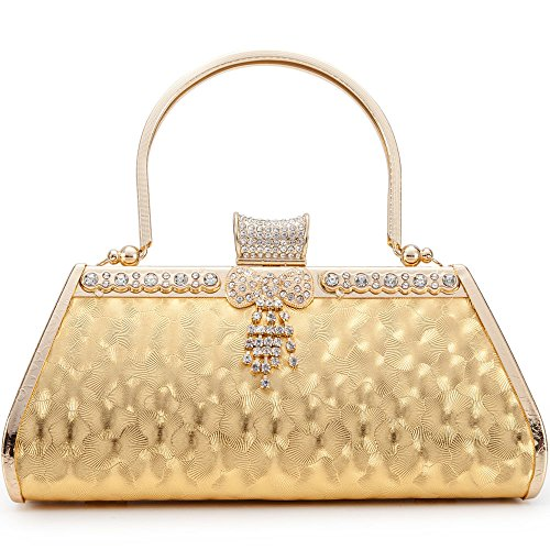 LONGBLE Women Clutch Bag Rhinstone Bowkont and Tassels Decorative Sparkling Vintage Classic Evening Shoulder Bag Girls Ladies Gold Elegant Compact Handbag Purse For Weddings Parties Ceremony (Gold)