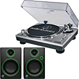 Audio-Technica AT-LP120-USB Direct-Drive Professional Turntable in Silver w/ Mackie CR Series CR3 3'' Creative Reference Multimedia Monitors (Pair)