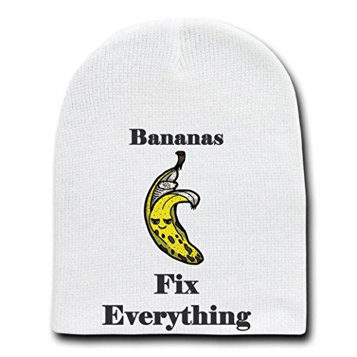 - Bananas Fix Everything Food Humor Cartoon - White Beanie Skull Cap Hat