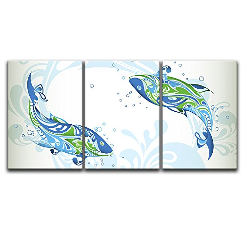 "16/""x24/""x3 Panels Wall26 Jumping Whale Canvas Art Wall Home Decor"