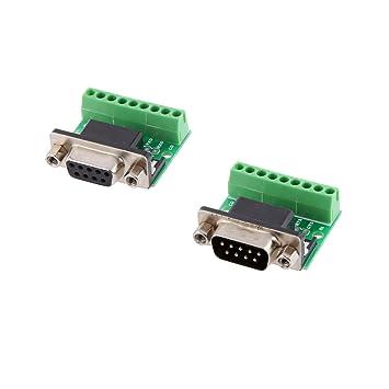 9 Pin DB9 Terminal sin Soldadura Hembra / Macho RS485 RS232 Adaptador Conector: Amazon.es: Electrónica