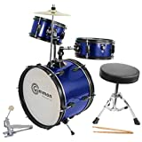 Gammon Percussion JR1042 BLUE AMZ Drum Set Complete Junior Kid's Children's Size with Cymbal Stool Sticks - Everything You Need to Start Playing, Metallic Blue