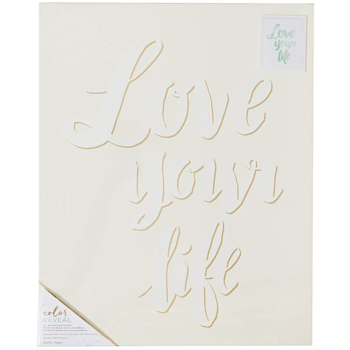 American Crafts Crate Paper Color Reveal Collection Watercolor Panel 16 X 20 Love Your Life (12 Pack)