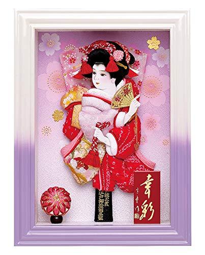 羽子板 額飾り 刺繍絞り羽子板 幸彩 白紫 9号 ケースバック金彩 h311-mm-031 B01MXHH05G