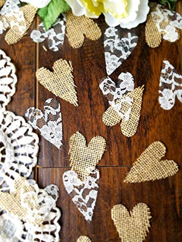 Burlap and Lace Heart Confetti, Rustic Wedding Decorations (Wedding Ideas Shower)