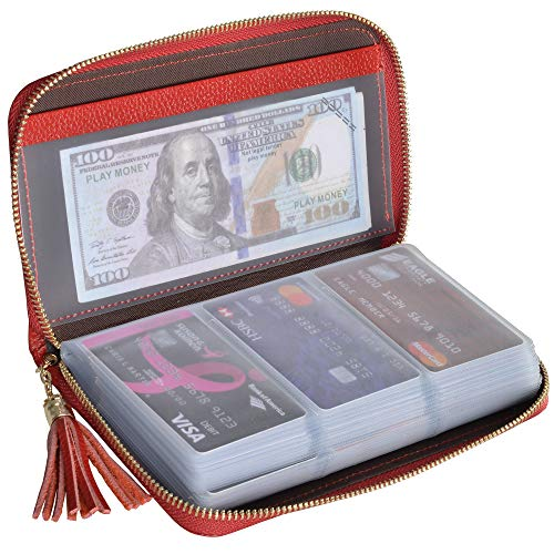 Leather Zipper Case - Easyoulife Credit Card Holder Wallet Womens Zipper Leather Case Purse RFID Blocking (Red)