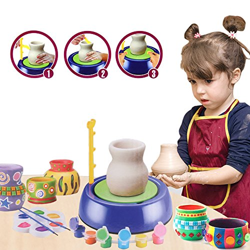 BTToyy Pottery Wheel, Pottery Studio Kit, Educational Toy, DIY Toy With Clay For Kids Children Beginners For - Cool Crafts For Kids