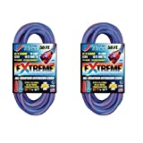 US Wire 99050 50-Foot Cold Weather Lighted Plug Extension Cord (Blue, 2-Pack)