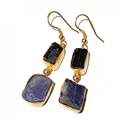 Artisan Handmade Rough Tanzanite And Black Tourmaline Gemstone Dangle ()