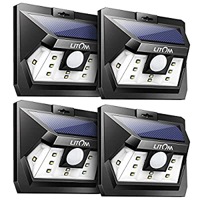 LITOM NEWEST 10 LED Solar lights Outdoor, Super Bright Motion Sensor Solar Security Light with Waterproof Wireless Design for Step Patio Garden Yard Porch Garage