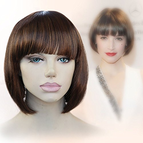 [Cbwigs Fashion Brown Short Bob Wigs Modern Silk Straight Short Synthetic wigs with Bangs for American African Women High Quality] (Black Bob Wig With Bangs)
