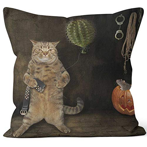 Nine City Hallowen cat with Cactus Throw Pillow Cushion Cover,HD Printing Decorative Square Accent Pillow Case,24