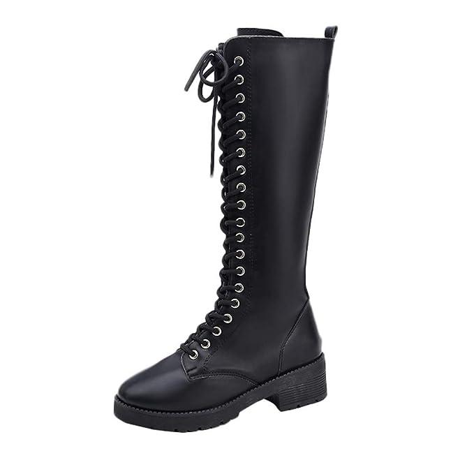 Botas largas de Cuero Mujer, Invierno Zapatos Planos de Cuero Retro para Mujer