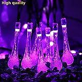 H+K+L Outdoor Garden Party 30 LED Raindrop Teardrop Solar Powered Environment-Friendly Waterproof String Fairy Lights (Purple)