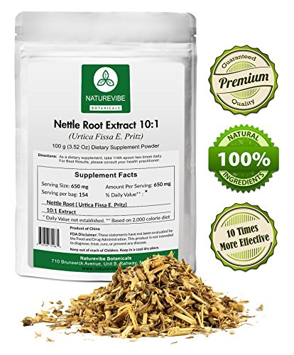 Naturevibe Botanicals Nettle Root Extract 10:1 (100 Grams) - 10 x More Effective - Boosts Testosterone - Prostate Health - Urinary Tract Health