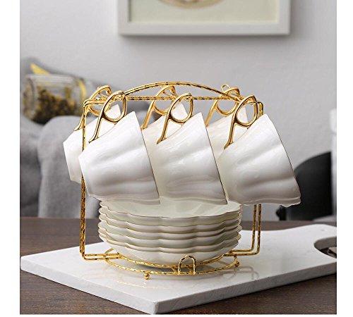 Wire Rack for Organizing 6saucers & 6cups & 6spoons/espresso Set Rack /Tea Set Display Stand/cabinet Stacker/kitchen Handling Case (Golden) -