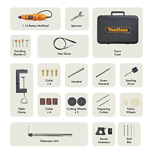 VonHaus Variable Speed Rotary Tool Kit with Stand, Storage Case and Flexi-shaft Including 34 Piece Multi-functional Accessory Tool Bits Set For Cutting, Sanding and Polishing by VonHaus (Image #5)