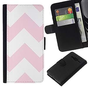 Planetar® Modelo colorido cuero carpeta tirón caso cubierta piel Holster Funda protección Para Samsung Galaxy Core Prime / SM-G360 ( Pink White Pattern Lines )