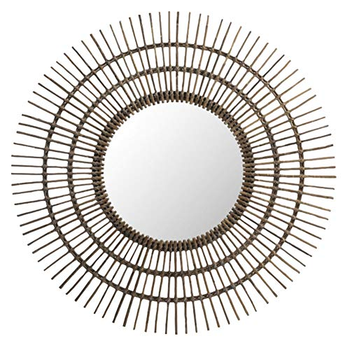 Z-jingzi Antique Round Rattan Sunburst Rays Vintage Wall Accent Circle Mirror Decorative - Rattan Bathroom Mirrors Standing