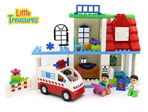 (Little Treasures Building Brick 99 Piece Two Story Build It Yourself Hospital Play Set Includes a Rescue Ambulance, Doctor and Patients)