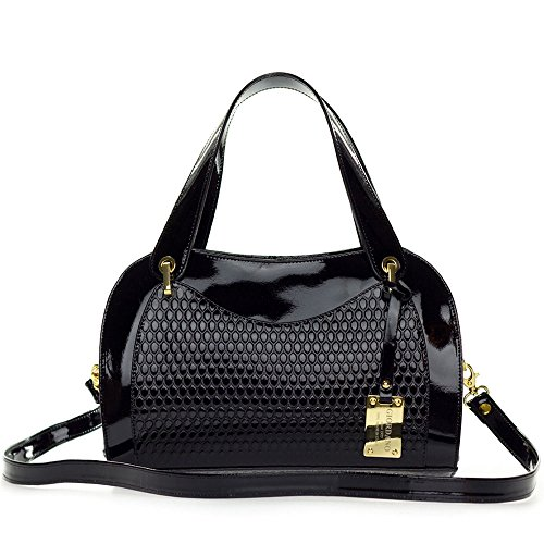 Embossed Patent Leather Satchel - Giordano Italian Made Black Patent Embossed Leather Satchel Handbag