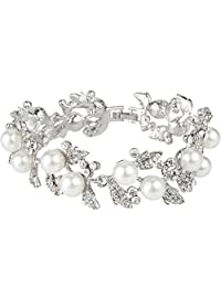 Ever Faith Bridal Silver-Tone Flower Leaf Clear Austrian Crystal Bracelet