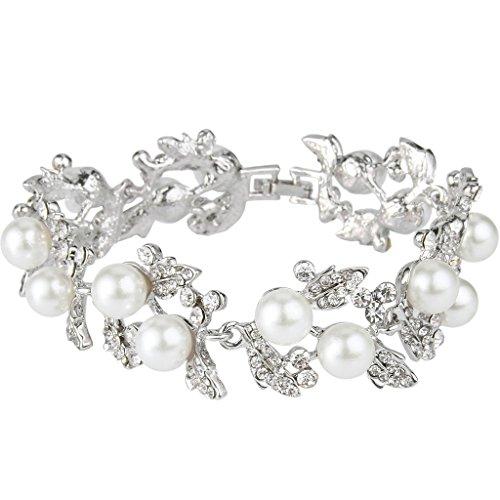 EVER FAITH Bridal Silver-Tone White Simulated Pearl Flower Leaf Clear Austrian Crystal Bracelet