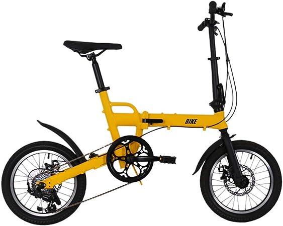 TYXTYX Bicicleta Plegable de Aluminio de 16 Pulgadas con 6 velocidades, con Frenos de Disco,portátil Boy Adultos y Chica de la Bicicleta de la Bicicleta Infantil: Amazon.es: Hogar